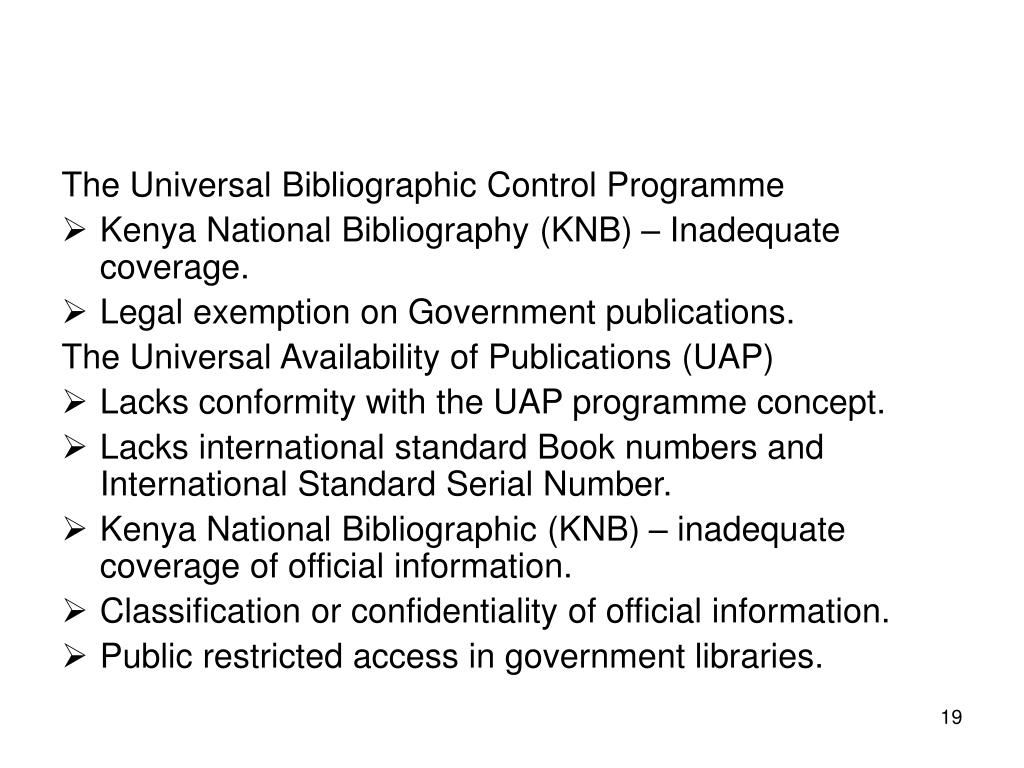 The Universal Bibliographic Control Programme