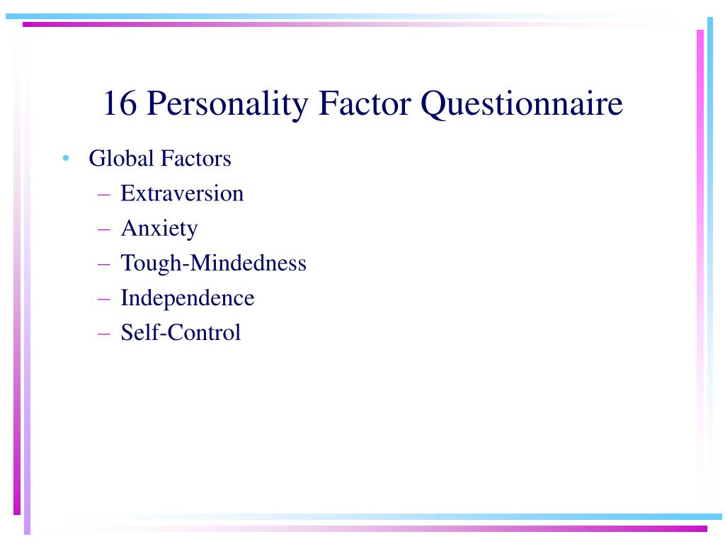16 Personality Factor Questionnaire