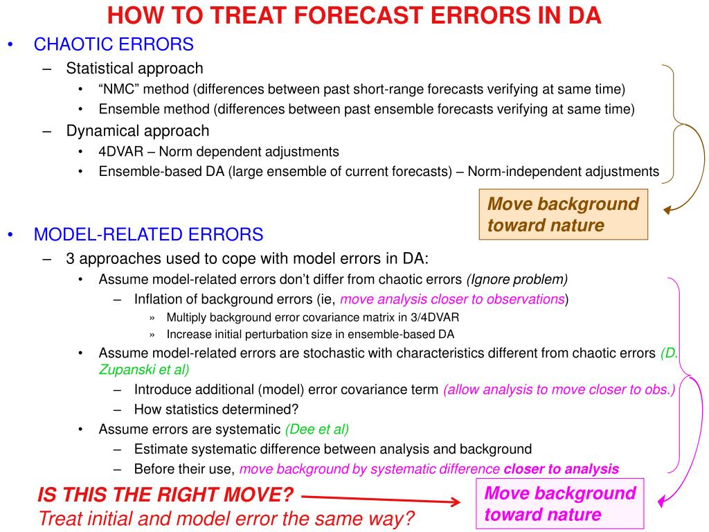 HOW TO TREAT FORECAST ERRORS IN DA
