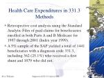 health care expenditures in 331 3 methods
