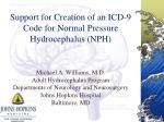 support for creation of an icd 9 code for normal pressure hydrocephalus nph