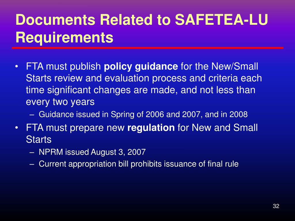 Documents Related to SAFETEA-LU Requirements
