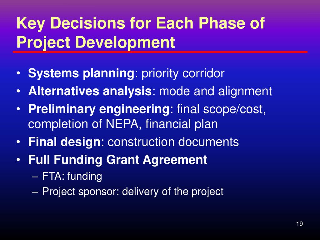 Key Decisions for Each Phase of Project Development