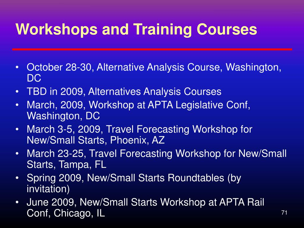 Workshops and Training Courses