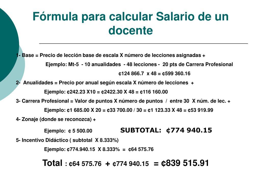 Fórmula para calcular Salario de un docente