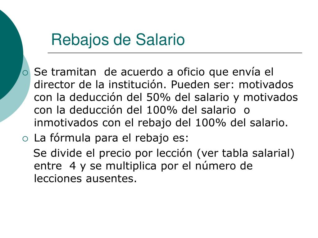 Rebajos de Salario