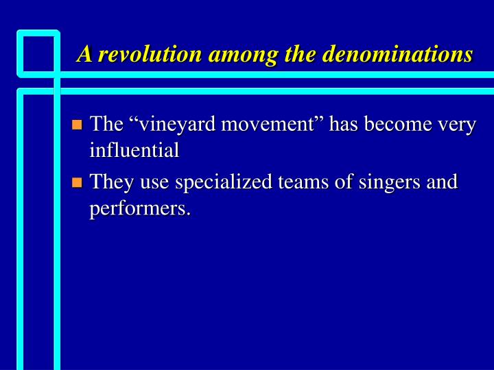 A revolution among the denominations2