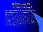 diagnosis of pe d dimer assay 2