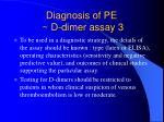diagnosis of pe d dimer assay 3
