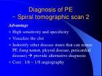 diagnosis of pe spiral tomographic scan 2