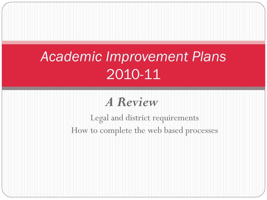 Academic Improvement Plans