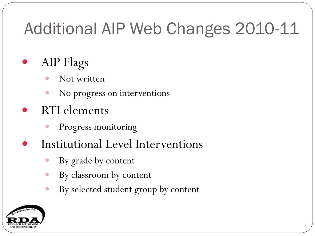 Additional AIP Web Changes 2010-11