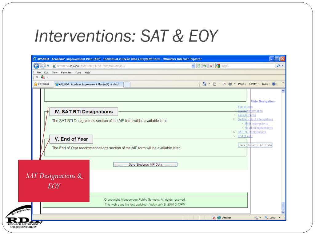 Interventions: SAT & EOY