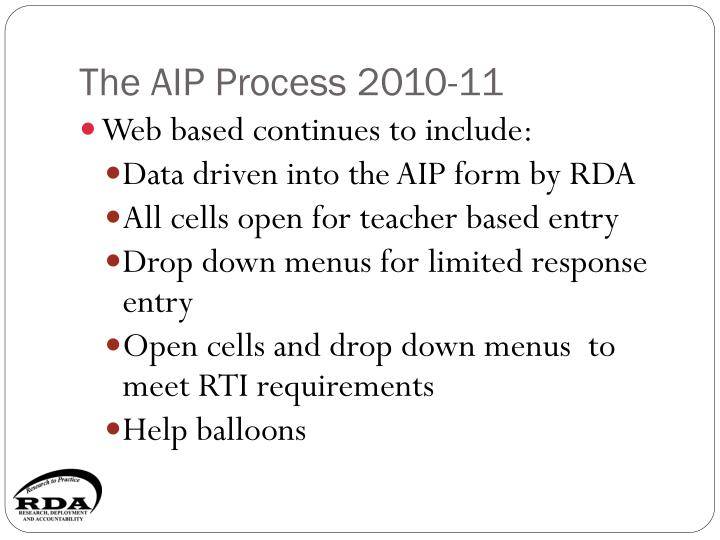 The aip process 2010 11