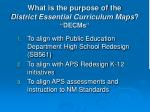 what is the purpose of the district essential curriculum maps decms