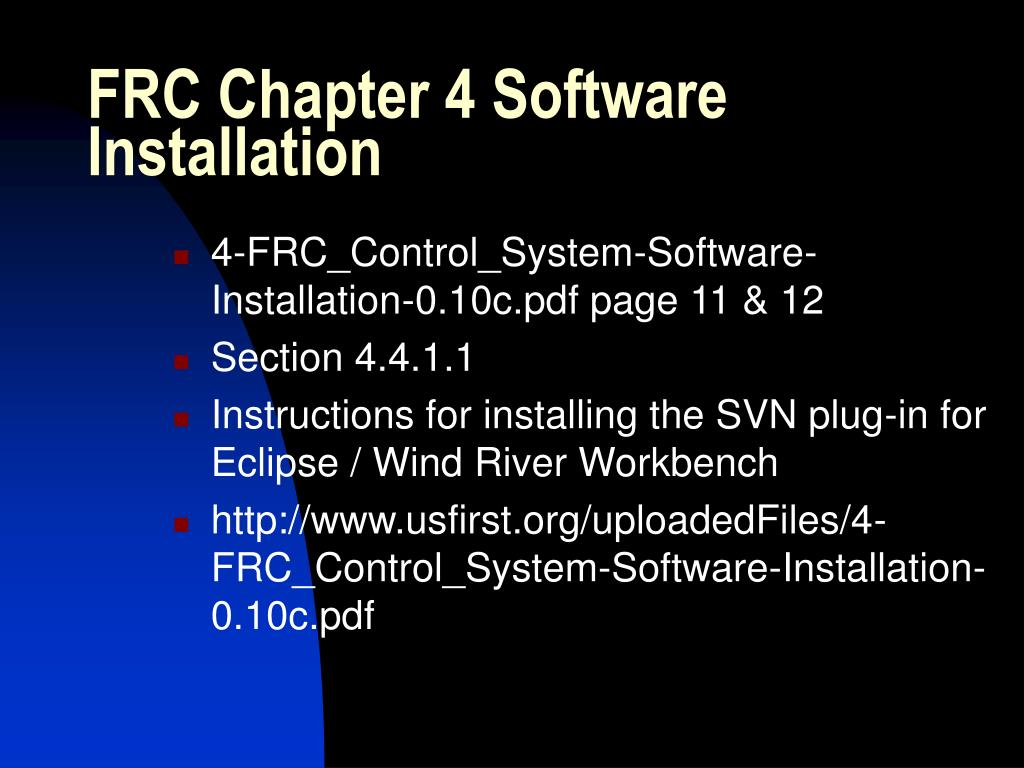 FRC Chapter 4 Software Installation