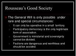 rousseau s good society