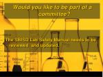 would you like to be part of a committee