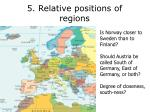 5 relative positions of regions