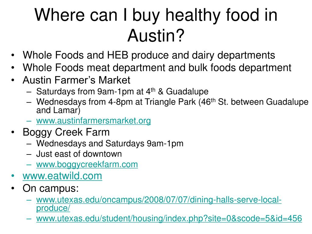 Where can I buy healthy food in Austin?