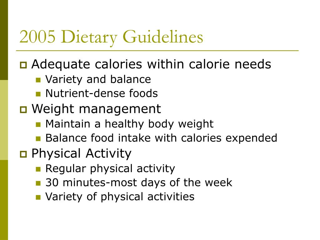 2005 Dietary Guidelines