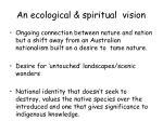an ecological spiritual vision