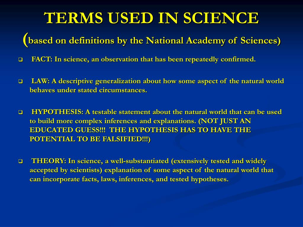 TERMS USED IN SCIENCE