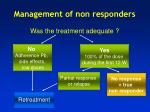 management of non responders