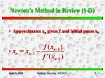 newton s method in review 1 d