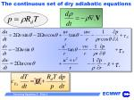 the continuous set of dry adiabatic equations