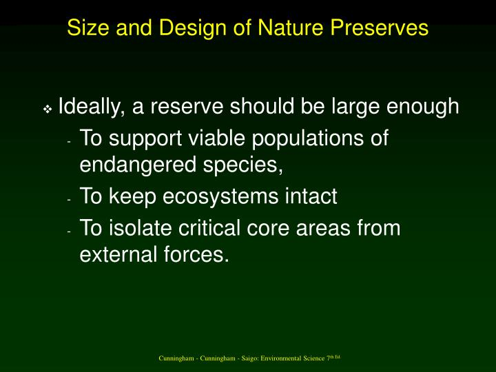 Size and Design of Nature Preserves