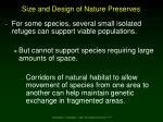 size and design of nature preserves1
