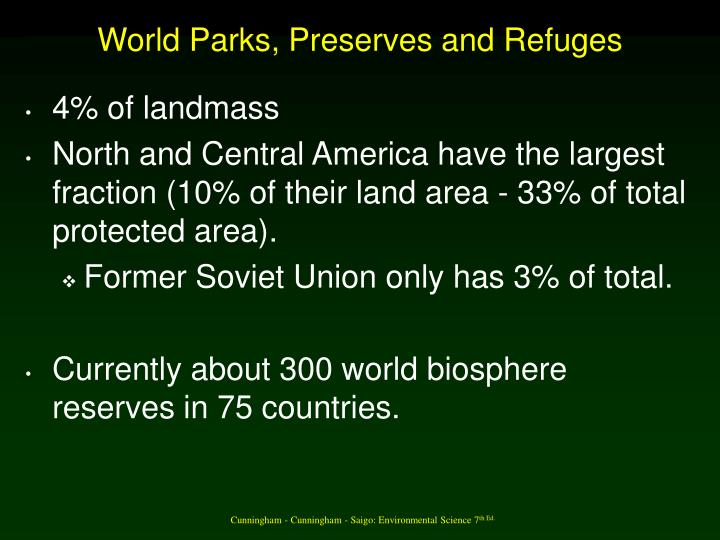 World Parks, Preserves and Refuges