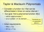 taylor maclaurin polynomials
