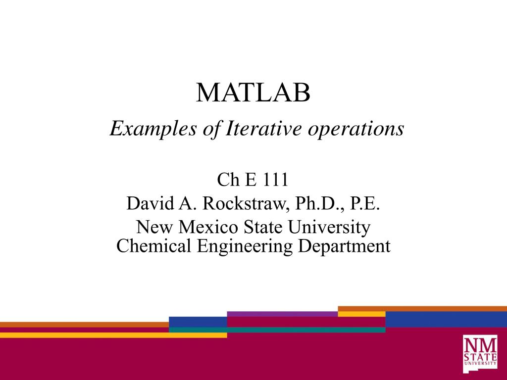 matlab examples of iterative operations l.