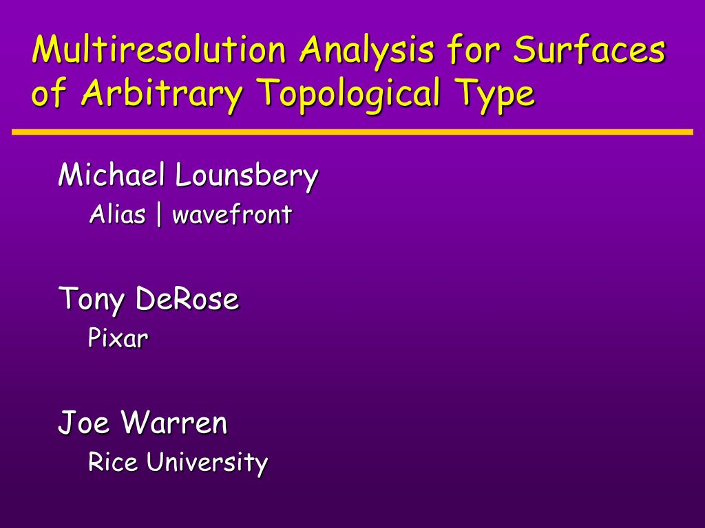 multiresolution analysis for surfaces of arbitrary topological type l.