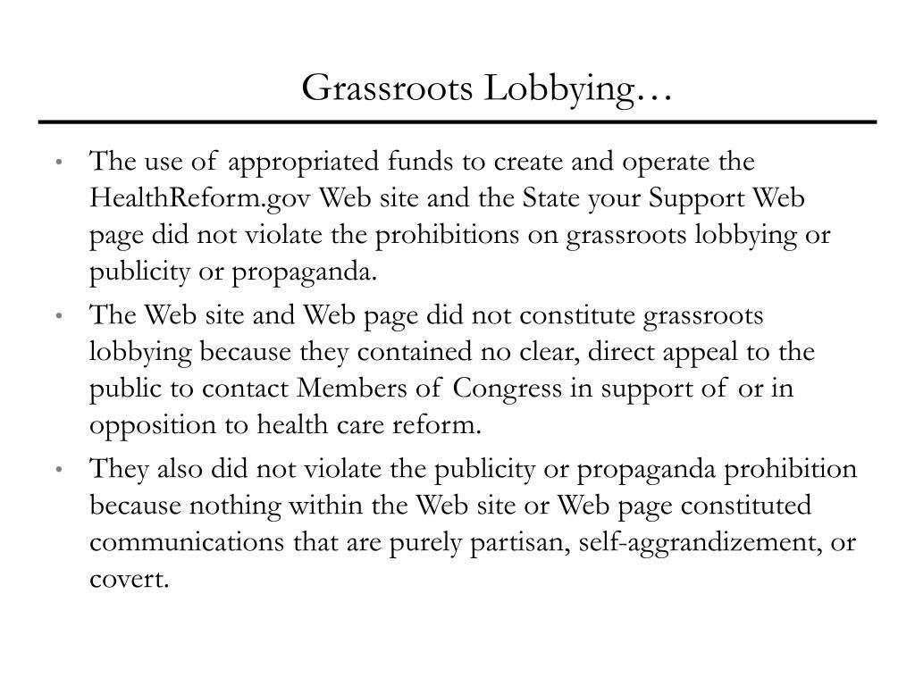 Grassroots Lobbying…
