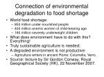 connection of environmental degradation to food shortage