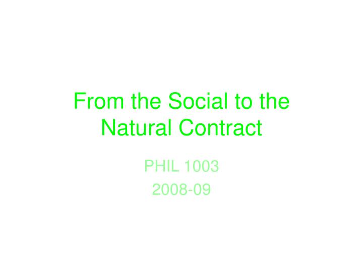 from the social to the natural contract n.