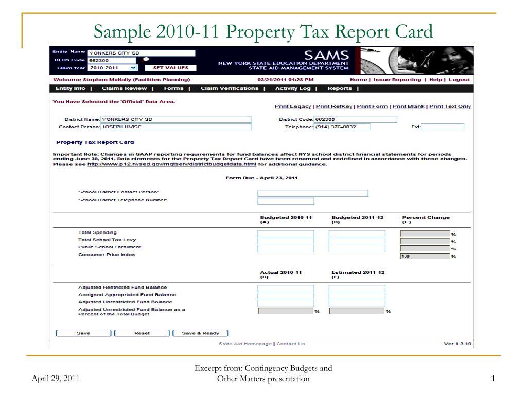 sample 2010 11 property tax report card l.