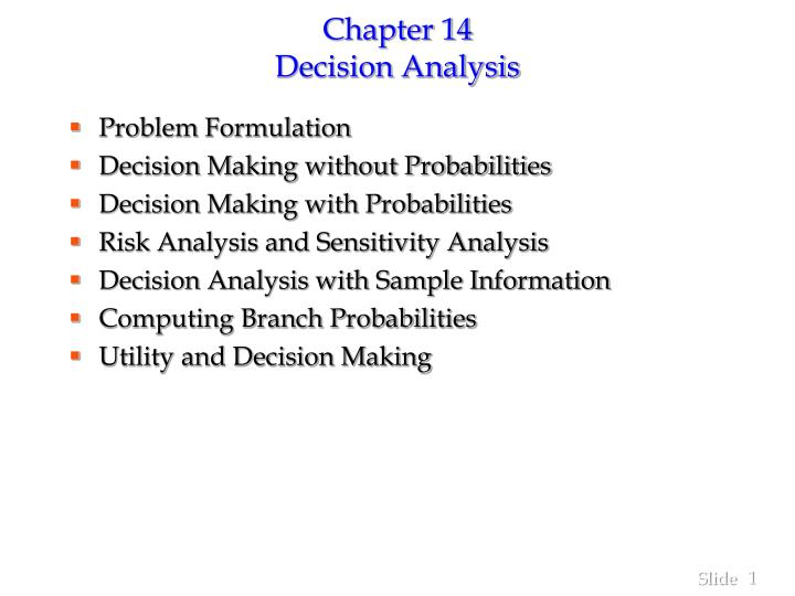 chapter 14 decision analysis n.