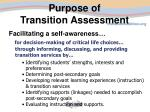purpose of transition assessment