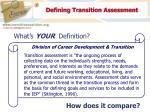 defining transition assessment