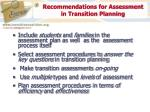 recommendations for assessment in transition planning
