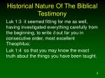 historical nature of the biblical testimony2