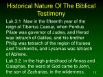 historical nature of the biblical testimony5