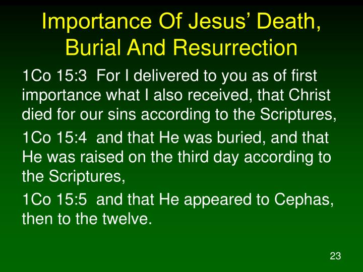 Importance Of Jesus' Death, Burial And Resurrection