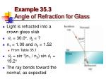 example 35 3 angle of refraction for glass