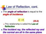 law of reflection cont