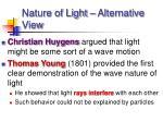 nature of light alternative view